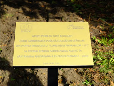 THE ALLEY OF THE COVENANT OF MAYORS FOR CLIMATE AND ENERGY PLANTED IN STĂUCENI